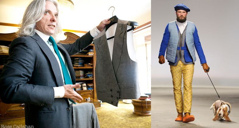 Left: Parisian Gentleman Hugo Jacomet in a classic handmade suit. Right: Progress.
